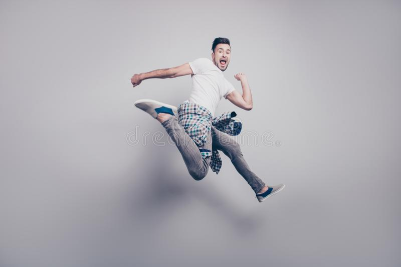 Happiness, freedom, motion and people concept. Happy young beard stock photo