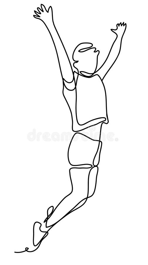 Happiness, freedom, motion and people concept - young woman jumping in air over white background. Continuous line vector illustration