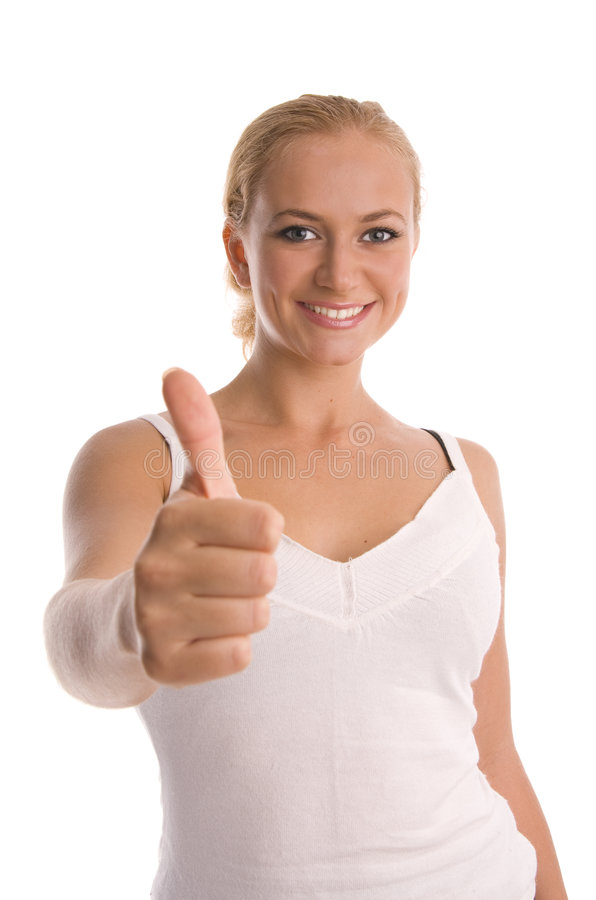Download Happiness Girl Shows OK 2 Stock Photos - Image: 7339783
