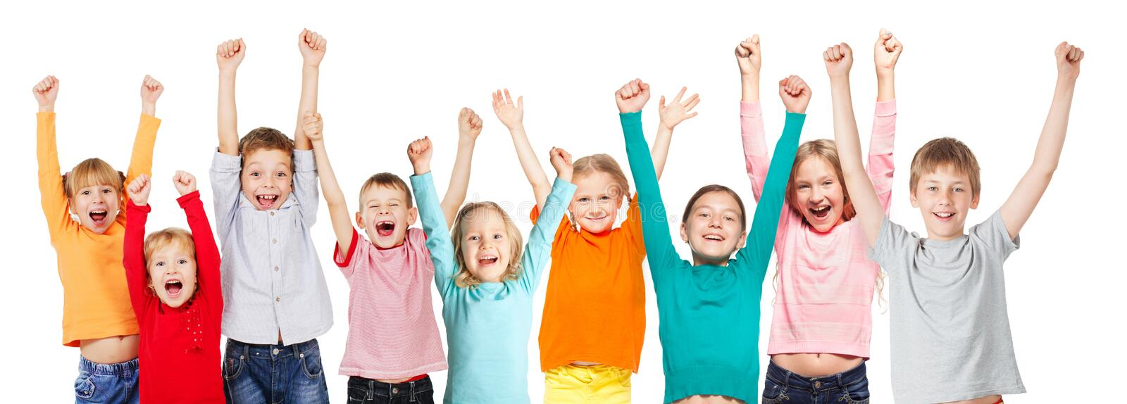 Happiness group kids with their hands up royalty free stock image