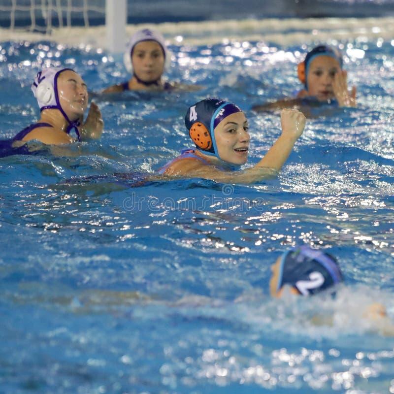Waterpolo EuroLeague Women Championship Kinef Surgutneftegas Kirishi vs Dunaujvaros royalty free stock image