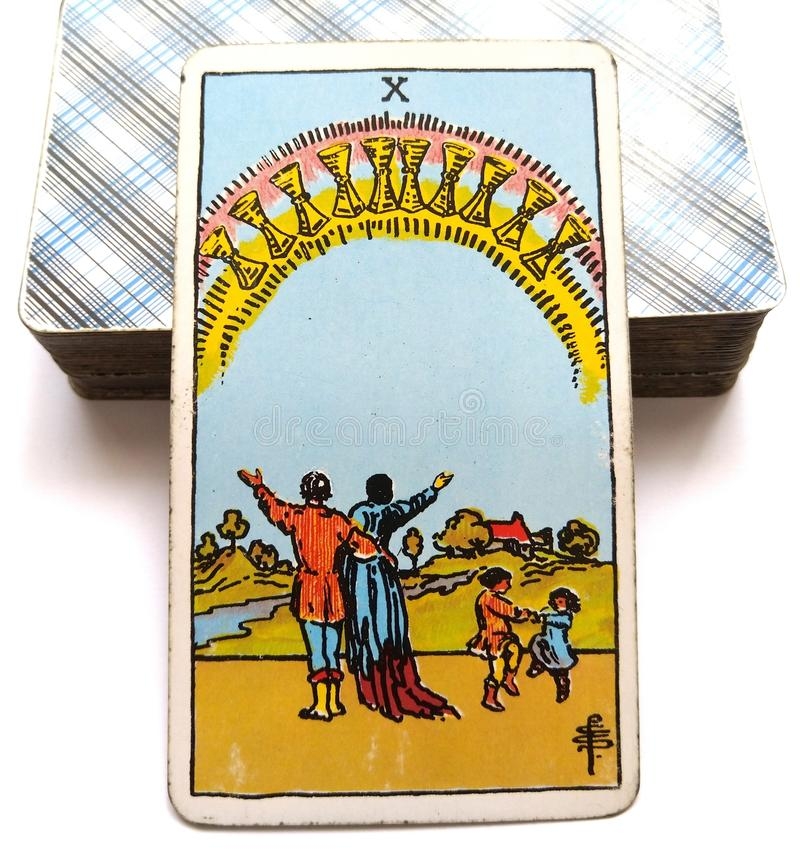 10 Ten of Cups Tarot Card Happiness Inner Happiness Happy Families/Groups/Relationships royalty free illustration