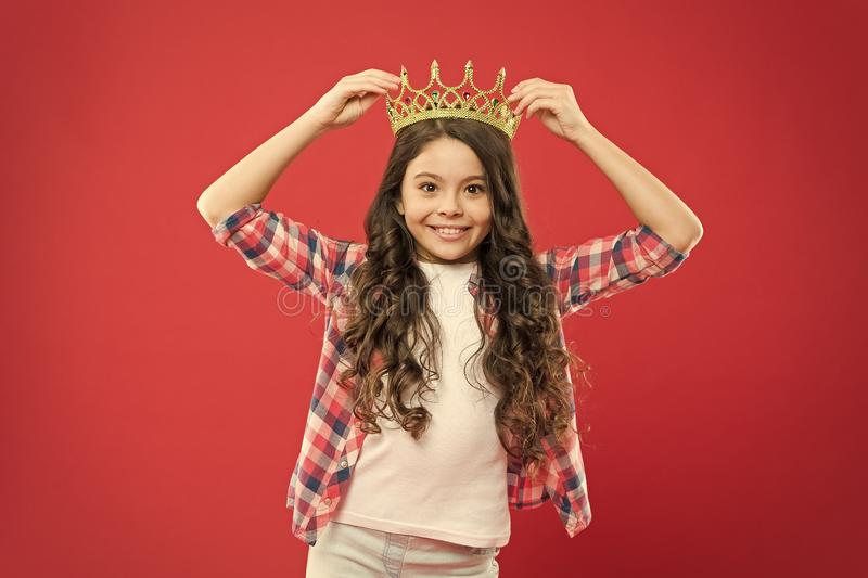 Happiness and joy. Kid wear golden crown symbol of princess. Girl cute baby wear crown. Become princess concept. I am stock images