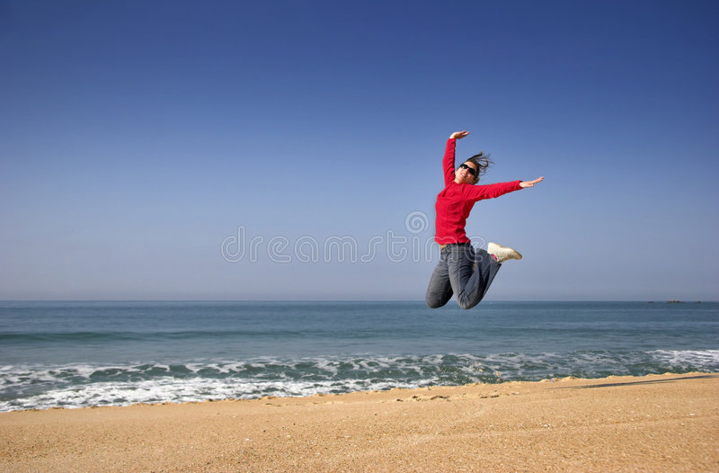 Download Happiness jump stock image. Image of jump, ocean, free - 2010711