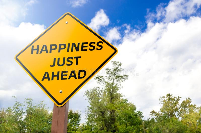 Happiness Just Ahead Conceptual Sign stock image