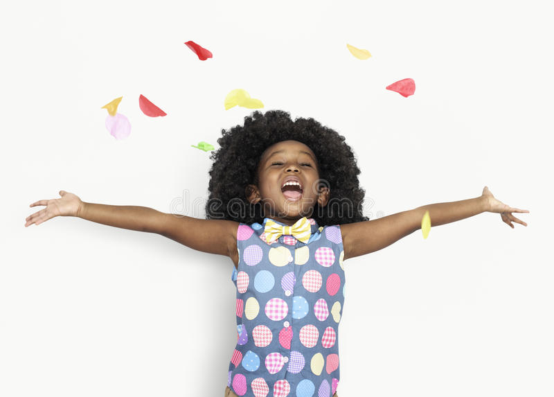 Happiness Little Girl With Petal royalty free stock photos