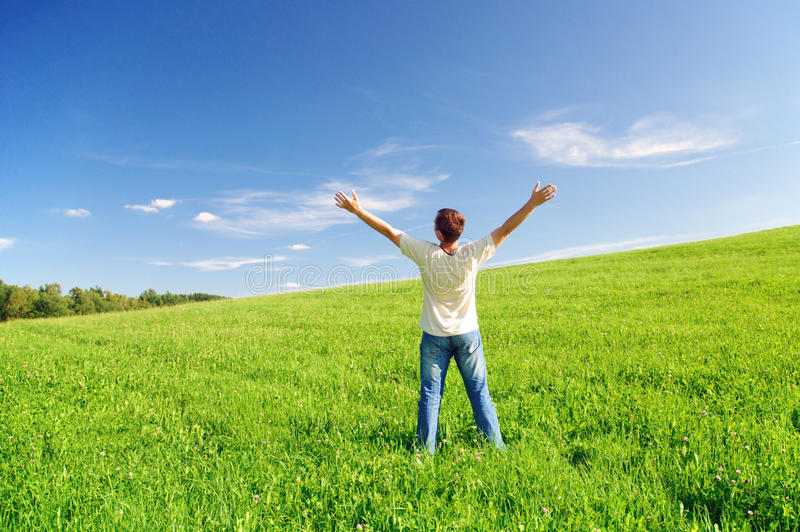 Happiness and love to nature royalty free stock image