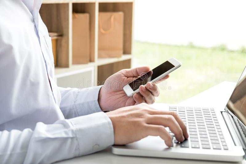 happiness man using smart phone register payments online shopping and customer service network connection market, technology on l stock photo