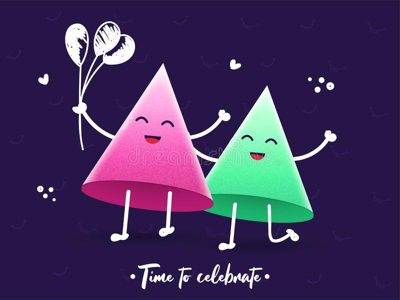 Happiness Party Hats Cartoon Holding Balloons in Dancing Pose on Purple Background for Time To Celebrate royalty free illustration