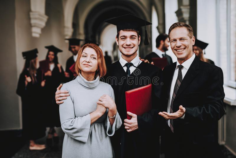 Happiness. Relations. Diploma. Parents. Finish. stock images