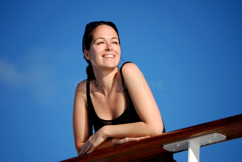 Happiness at sea stock photo
