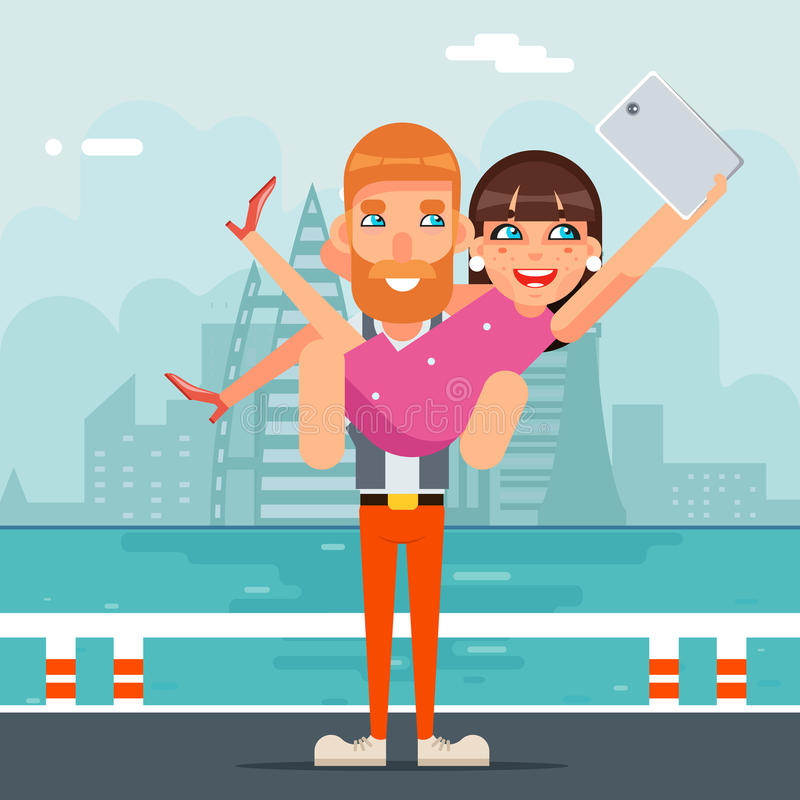 Happiness Selfie Photo Portrait Cute Young Girl Woman Man Together Couple Geek Hipster Smartphone Casual Lifestyle. Happiness Selfie Photo Portrait Cute Young royalty free illustration
