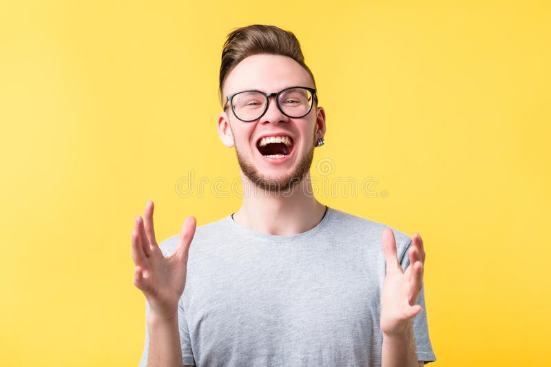 Happiness thrilled man emotion feeling expression royalty free stock photos
