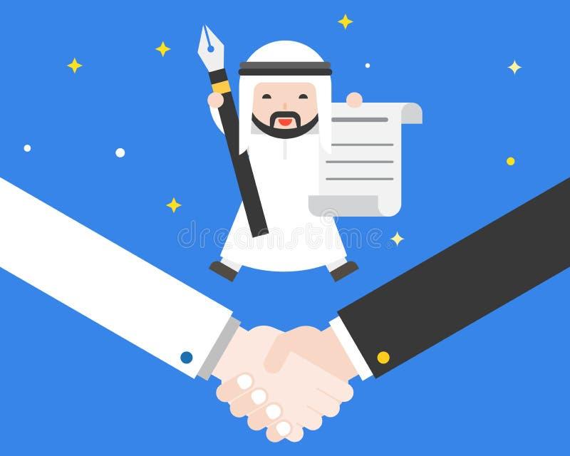 Happiness tiny Cute Arab businessman jump on shaking hand, hold vector illustration