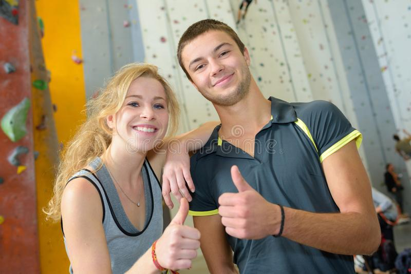Happiness after wall climbing royalty free stock image