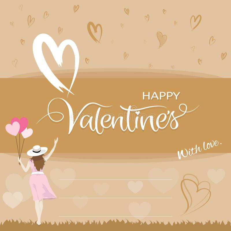 Happiness woman holding heart shape balloons and raising hand, Valentines day concept royalty free illustration