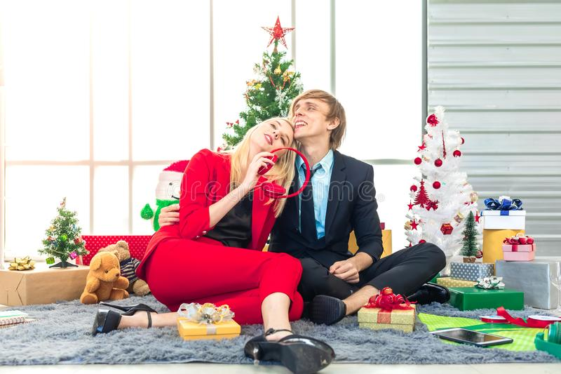 Happiness young couple enjoy with new year gift for christmas or new year celebration party royalty free stock photos