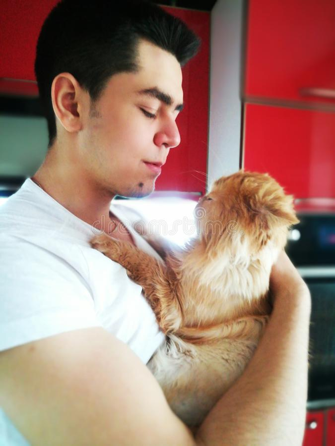 Happiness. Cat with Young Man. Orange Persian Cat. Lover Man, Hugging and Cuddling his Happy Domestic Cat Pet. Love to the animals. Happiness. Young man with cat royalty free stock photo