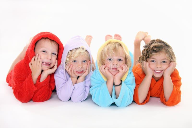 happpy bathrobe dzieci zdjęcie royalty free