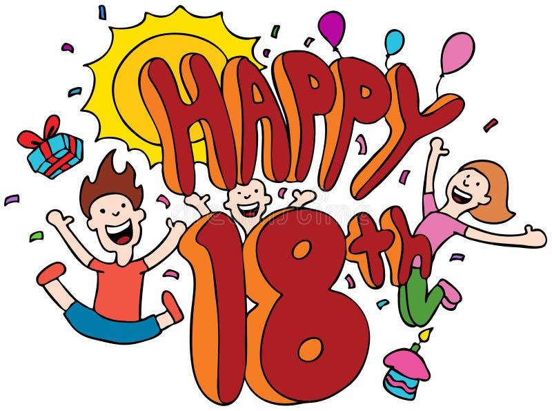 Happy 18th vector illustration
