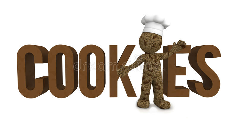 Happy 3d baker textured as chocolate cookie. Isolated on white background vector illustration