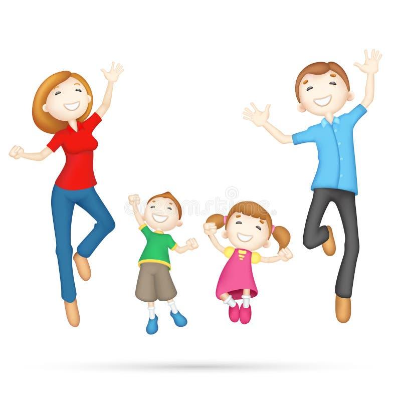 Happy 3d Family stock illustration
