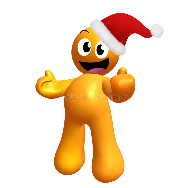 Happy 3d icon wearing Santa hat