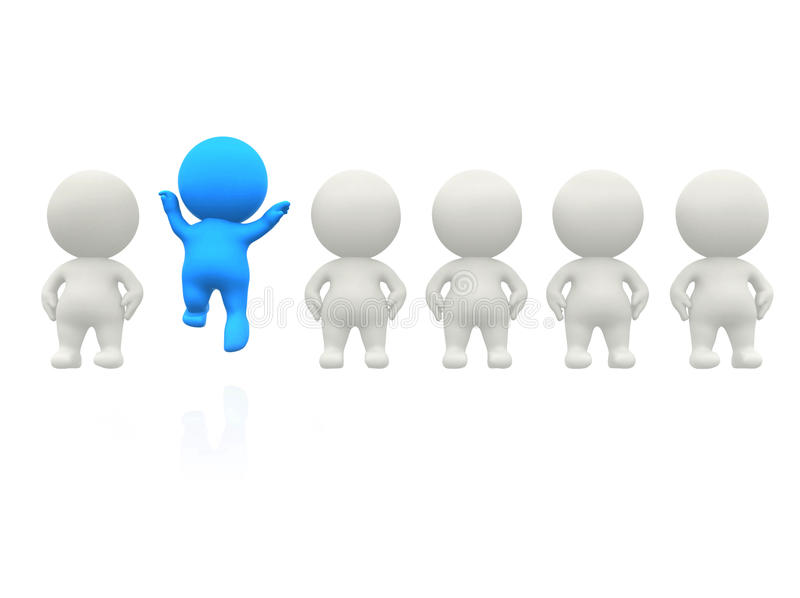 Download Happy 3D man standing out stock illustration. Illustration of stand - 13059772