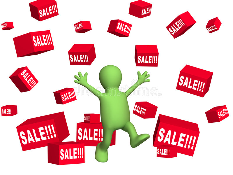 Happy 3d person - puppet, making shopping. Objects over white stock illustration