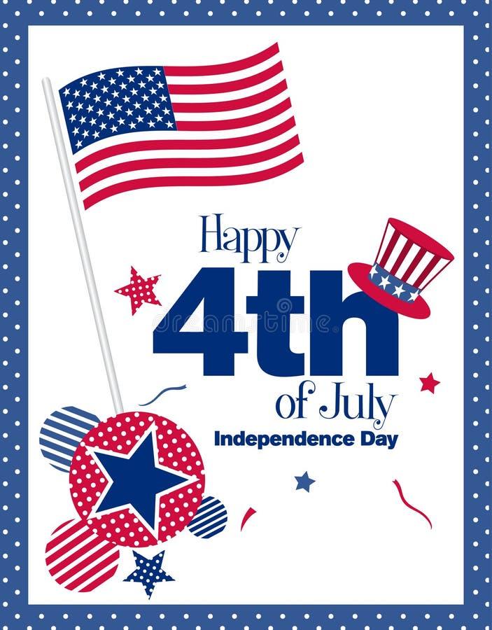 Happy 4th July. Greeting card, illustration royalty free illustration