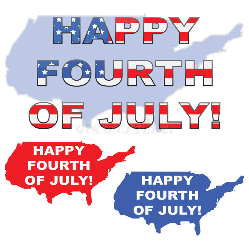 Happy 4th of July. Concept illustration showing the map of the United States with the words Happy 4th of July over it royalty free illustration
