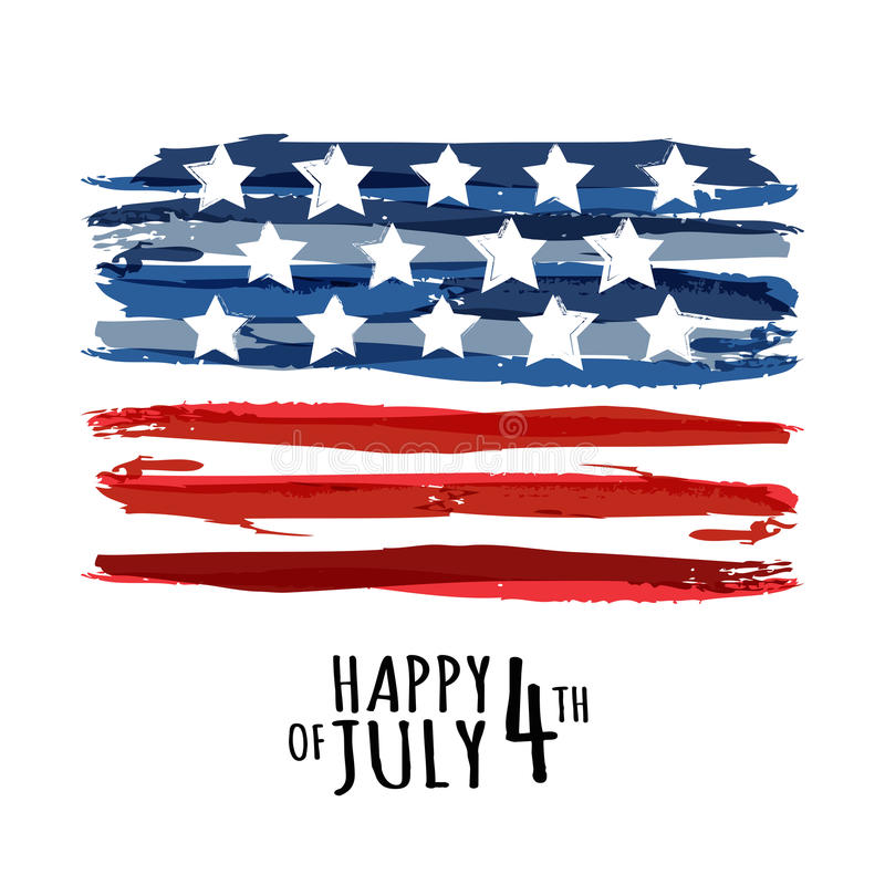 Free Happy 4th Of July, USA Independence Day. Vector Abstract Grunge Royalty Free Stock Photography - 55265047