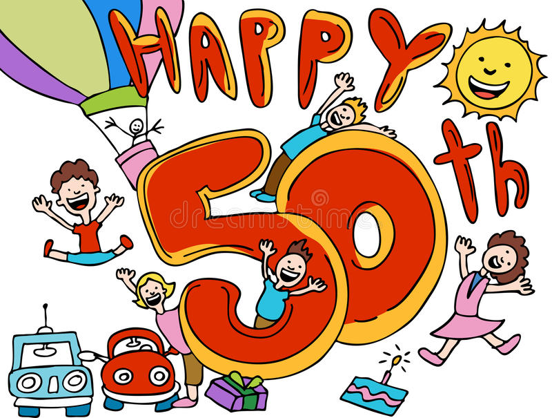 Happy 50th. Cartoon isolated on a white background royalty free illustration