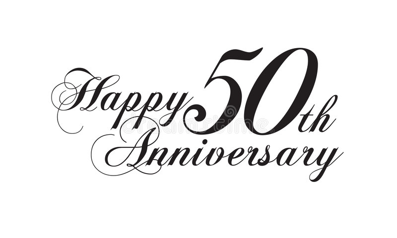 Happy 50th anniversary. Wedding logotype vector illustration
