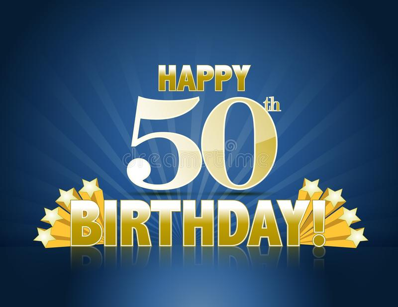 Happy 50th birthday. Sign with golden stars ans rays of light stock illustration