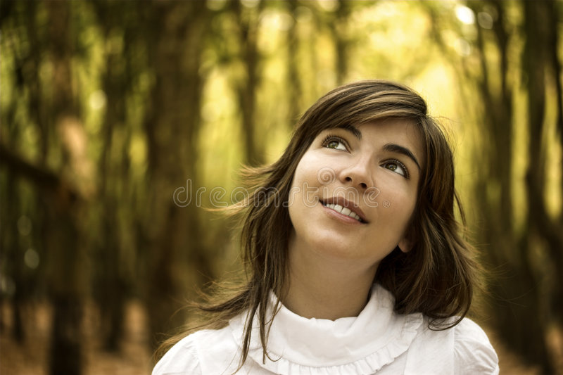 Happy. Beautiful happy woman in the autumn park royalty free stock photos