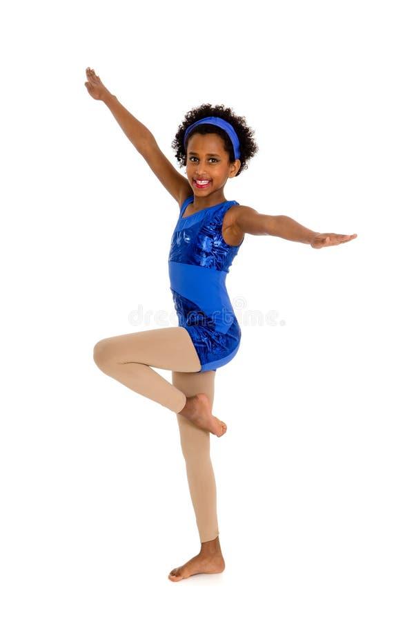 Happy Acro Dancer Child With Legs In Retire Stock Photo ...