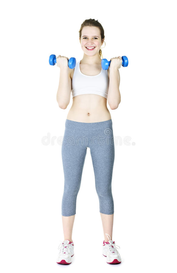 Download Happy Active Girl Holding Weights Stock Photos - Image: 20527773