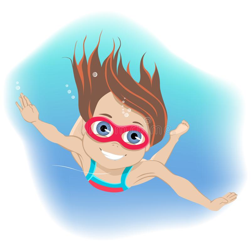 Happy childhood concept. Happy active little girl wearing goggles swimming underwater in a swimming pool during her vector illustration