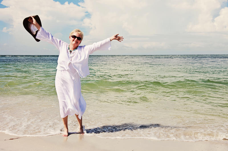 Happy active senior woman royalty free stock images