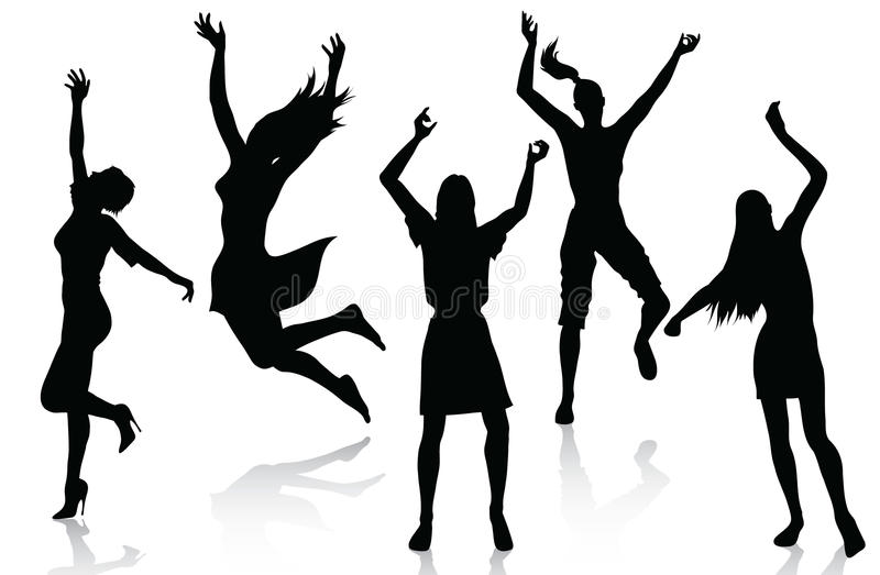 Download Happy Active Women Silhouettes Stock Vector - Image: 14782646