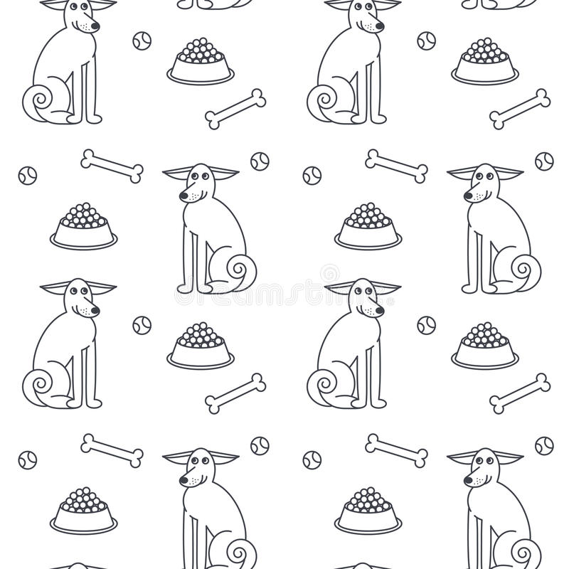 Happy adult dogs seamless pattern. royalty free illustration