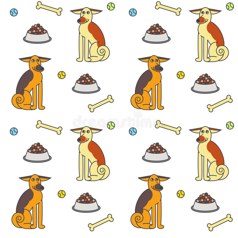 Happy adult dogs seamless pattern. vector illustration