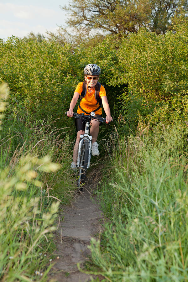 Download Happy adult  woman cyclist stock image. Image of active - 41443267