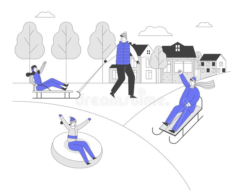Happy Adults and Children Having Fun Sledding on Tubing and Sleds Downhill During Winter Holidays. People Wintertime vector illustration