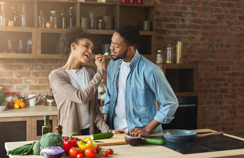 Happy african-american couple preparing dinner. In loft kitchen at home. Family cooking healthy food stock photography