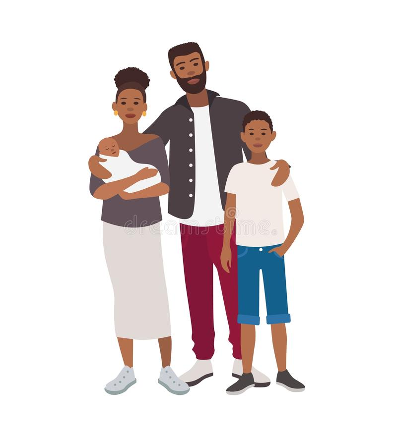 Happy african american family. Father, mother holding newborn child and teenage son standing together. Cute flat cartoon vector illustration