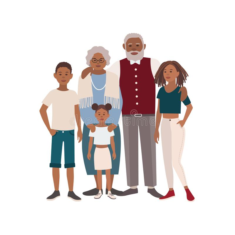 Happy African American family portrait. Grandmother, grandfather and their grandchildren standing together. Beautiful stock illustration