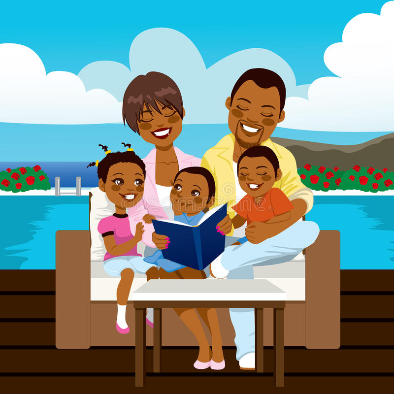 Happy African American Family stock illustration