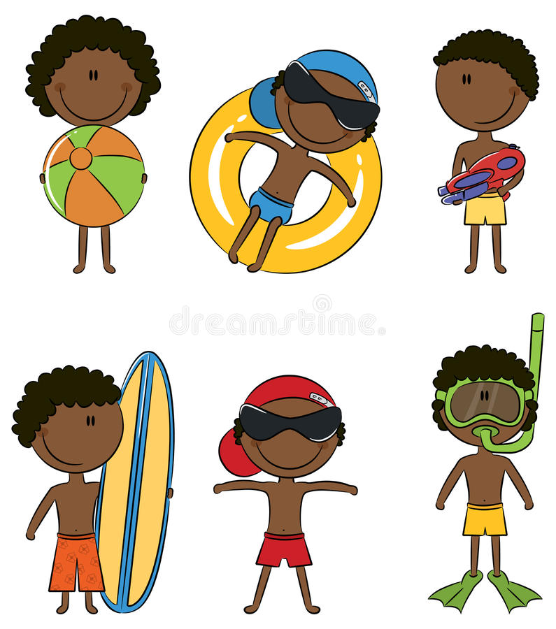 Happy African-American kids on the beach
